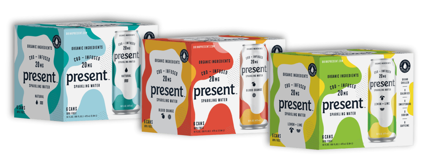 Present - CBD Infused Sparkling Water, Lemon Lime, Blood Orange, Natural and Variety Pack